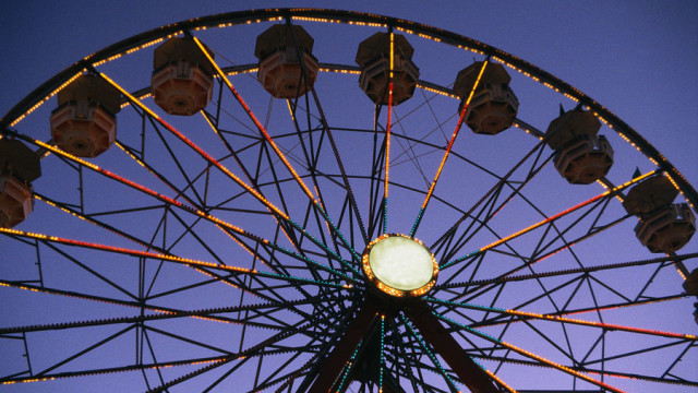 Ferris Wheel Glowing at Twilight