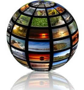 sphere with pictures over a white background